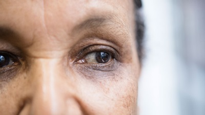 A woman's brown eyes