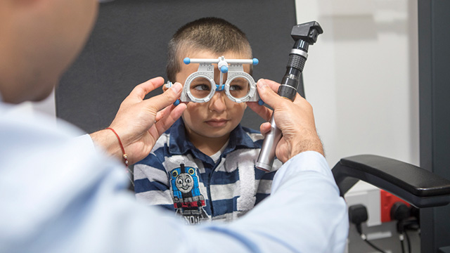 Child having eye test