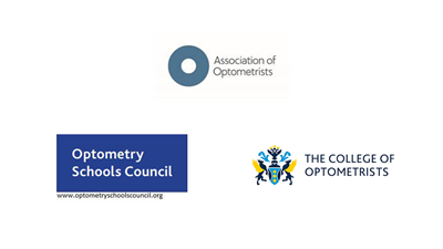 AOP, College of Optometrists and the Optometry Schools Council logos