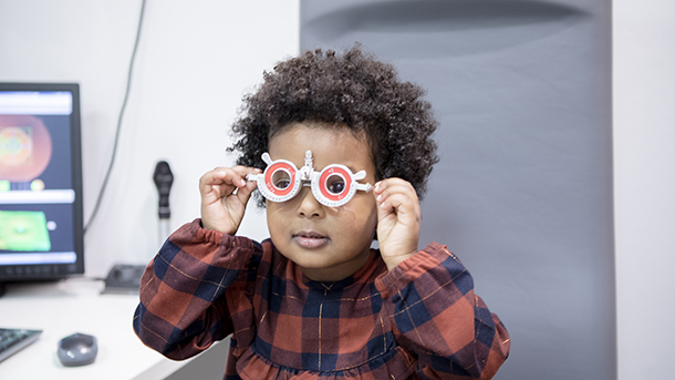 Child having sight test