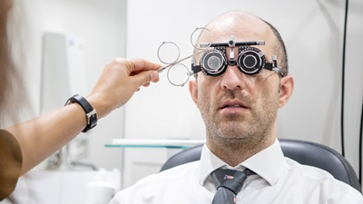 Optometrist at work