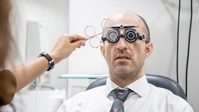 man having sight test