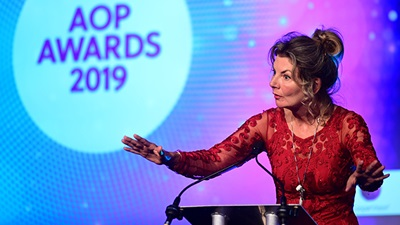 Jo Caufield host AOP awards ceremony 2019