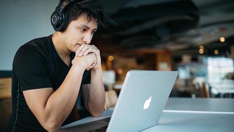 man watching a video