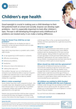 Children's eye health leaflet cover