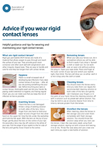 Advice for rigid contact lens wearers leaflet cover