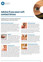 Advice for soft contact lens wearers leaflet cover