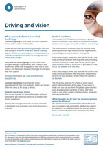 Driving and vision standards patient leaflet