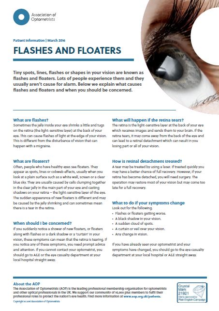 AOP advice on flashes and floaters