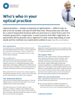 Who's who in your optical practice