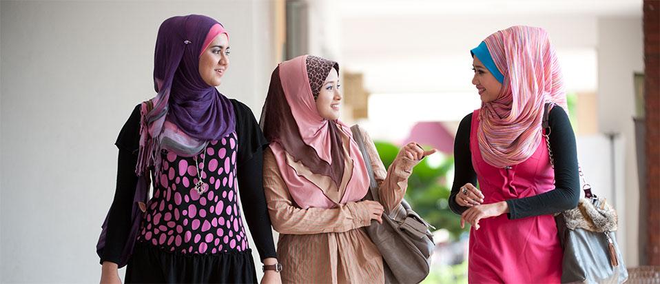 Three woman wearing hijab