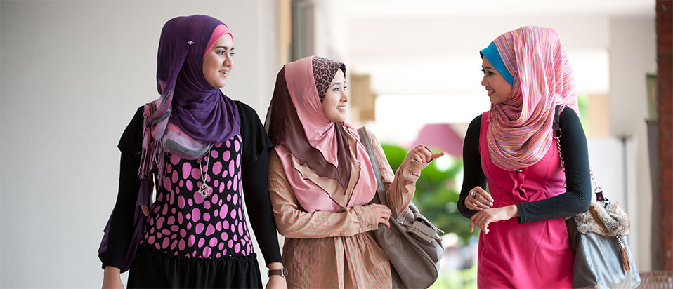 Three woman wearing hijab