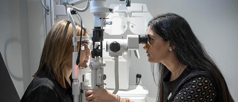 Optometrist in practice