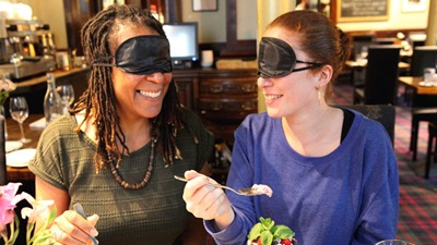 fight for sight feast your eyes women with blindfolds on