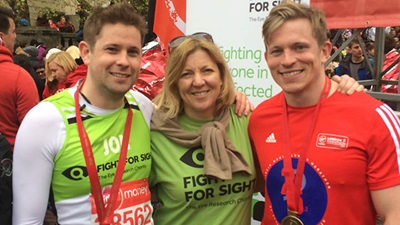 Jon and Rob Bennett with Fight for Sight chief executive, Michele Acton