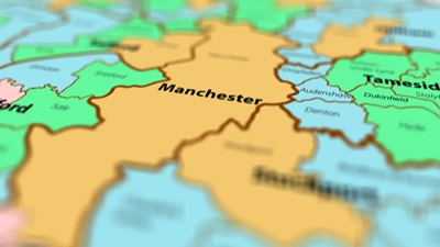Map of the UK which highlights Manchester