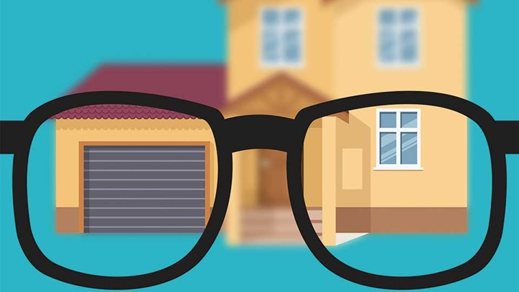 Glasses and a house