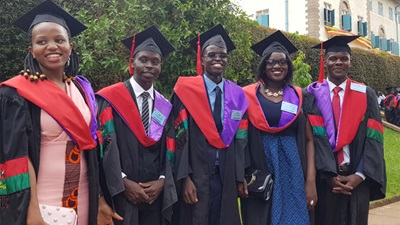 The first optometrists to be trained in Uganda at their graduation ceremony