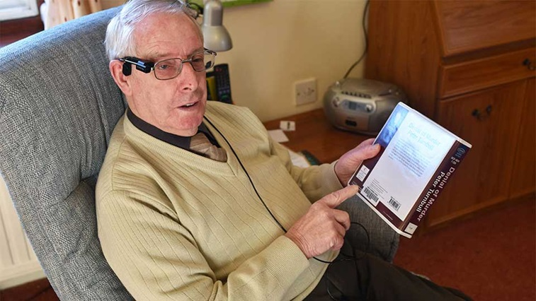 Blind veteran using Orcam MyEye device