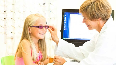 Child having a sight test