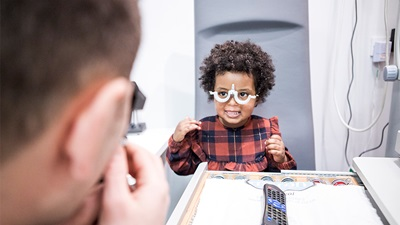 A child having a sight test
