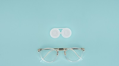 glasses and contact lens case