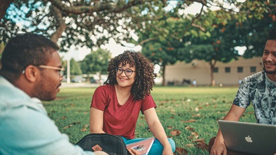 students in the park