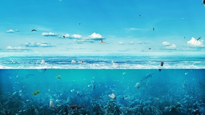 Ocean filled with plastic