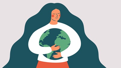 woman hugging the planet