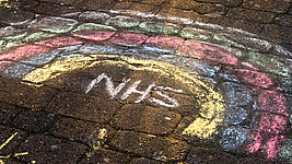 NHS rainbow in chalk