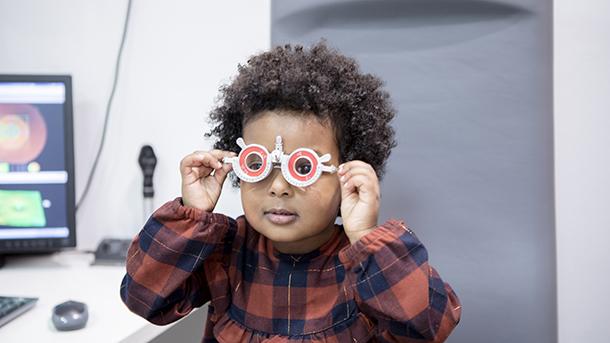 Child having sight test