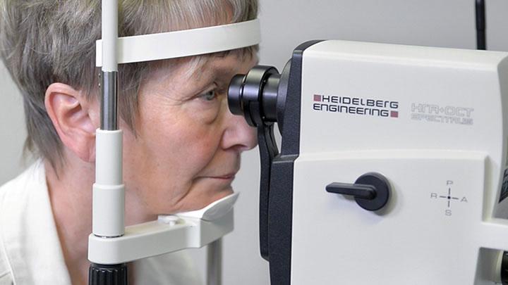 Lady having a sight test