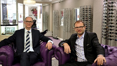 Andrew & Rogers Optometrists partners Roger Smyth (left) and Andrew Scott (right)