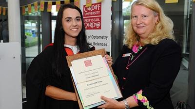 Second year Cardiff University undergraduate, Josie Carmichael, receiving her award