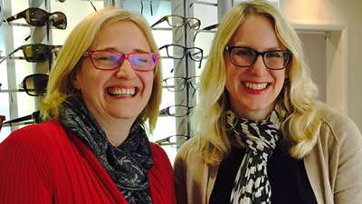 Eyespace competition winner Sarah Bonting (left) with Eyespace regional sales manager, Catherine Bartlett (right)