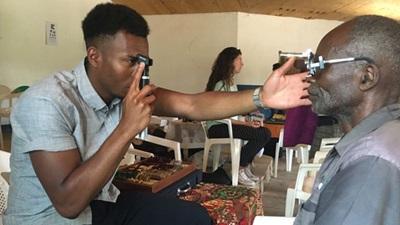 Eye test in Malawi clinic