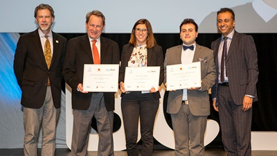 Pictured at the IACLE Awards ceremony at the 40th BCLA Clinical Conference are (l-r) CooperVision's Dr Gary Orsborn, Professor Jan Bergmanson, Kristina Mihić, Dr Yazan Gammoh and IACLE president Dr Shehzad Naroo