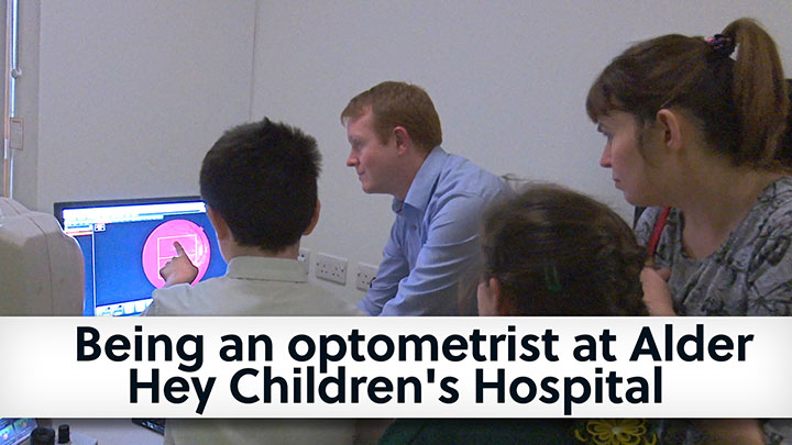 Optometrist speaking to children at Alder Hay