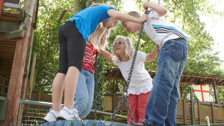 children in playground playing