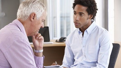 Counsellor consults patient