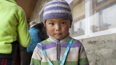 Eyes4Everest – a girl waits for her eyes to be checked
