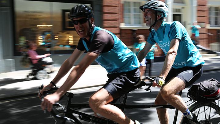 Ken Reid cycles into London