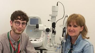 Pictured are volunteer optometrists Kieran Loft and Jane Wadsworth