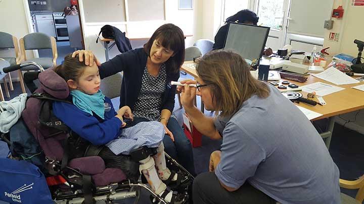 A patient having an eye test
