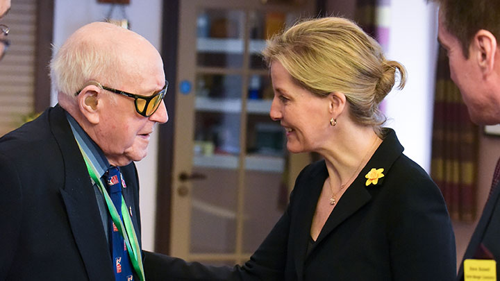 Sophie Wessex greeting a member of Blind Veterans UK