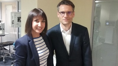 Essilor's Andy Hepworth with BBC presenter Lucy Owen