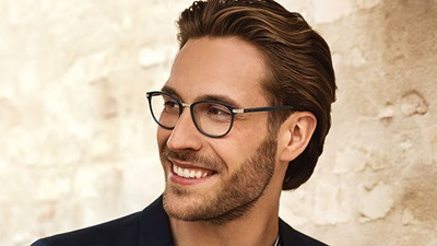 Model wearing spectacles from the new Davidoff Eyewear Collection