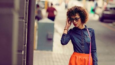 Model wearing coloured lenses
