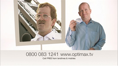 A still from the Optimax advert with Eddie the Eagle