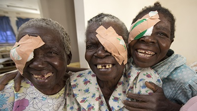 Women with one eye covered following cataract surgery